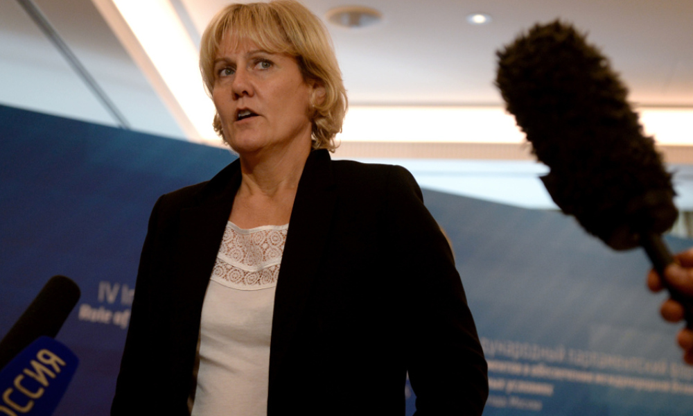 Nadine Morano à un forum parlementaire sur la sécurité internationale à Moscou.