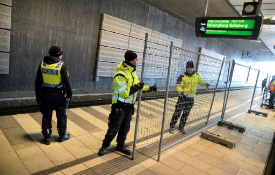 A temporary fence is erected between domestic and international tracks at Hyllie train station in southern Malmo, Sweden, on January 3, 2016, to ease border control preventing illegal migrants to enter Sweden. The station is the first st...