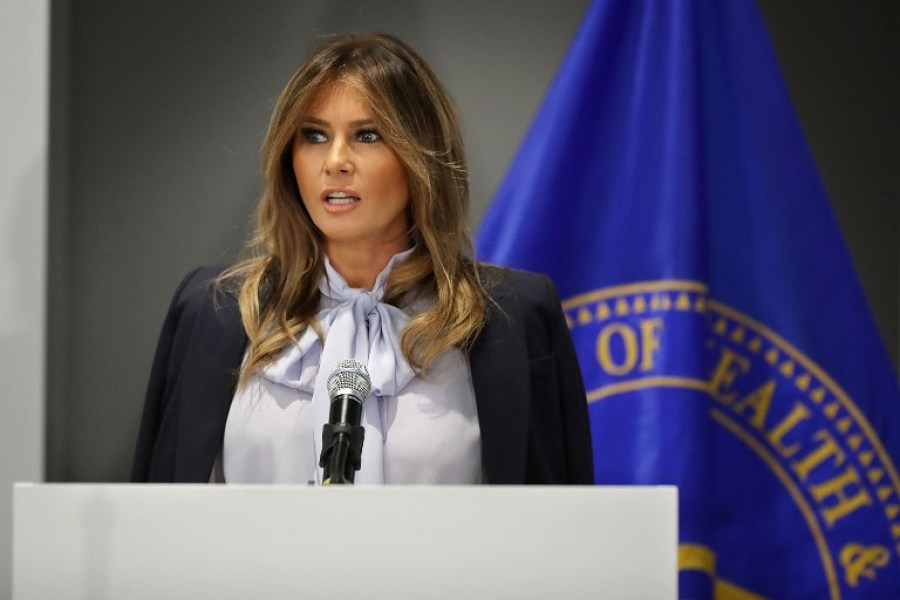 "AUGUST 20: U.S. first lady Melania Trump delivers remarks during a Federal Partners in Bullying Prevention summit at the Health Resources and Service Administration August 20, 2018 in Rockville, Maryland. The first lady attended the federal anti-cyber-bullying summit just days after President Donald Trump referred to former aide Omarosa Manigault Newman as a ""dog"" on Twitter. Chip Somodevilla/Getty Images/AFP"