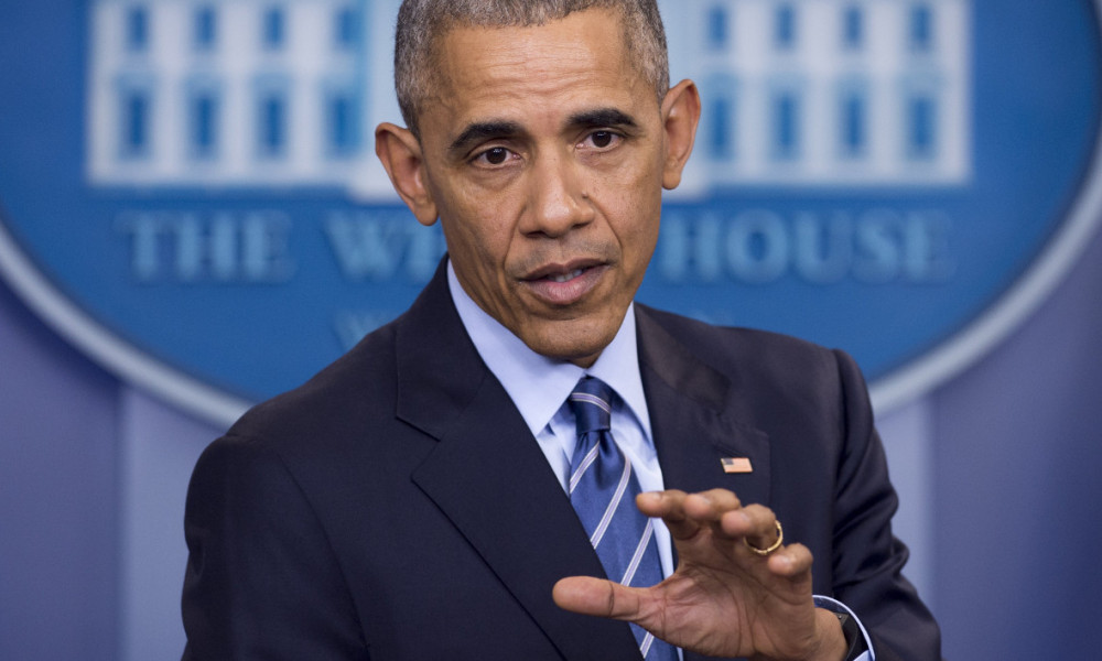 "US President Barack Obama holds a year-end press conference in the Brady Press Briefing Room of the White House in Washington, DC, December 16, 2016. Obama said Friday he had confronted Vladimir Putin in person over allegations of Russian hacking when they met ahead of the US election, telling him to ""cut it out."" SAUL LOEB / AFP"