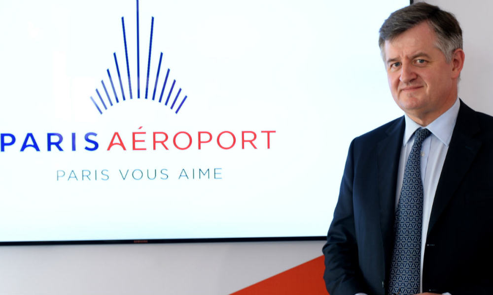 "French Aeroports de Paris (ADP) group Chief Executive Officer Augustin de Romanet poses during the presentation of the group's new logo for travelers, ""Paris Aeroport"", within the presentation of the new name and new logo for the group ""Groupe ADP"" at Orly airport, south of Paris, on April 14, 2016."