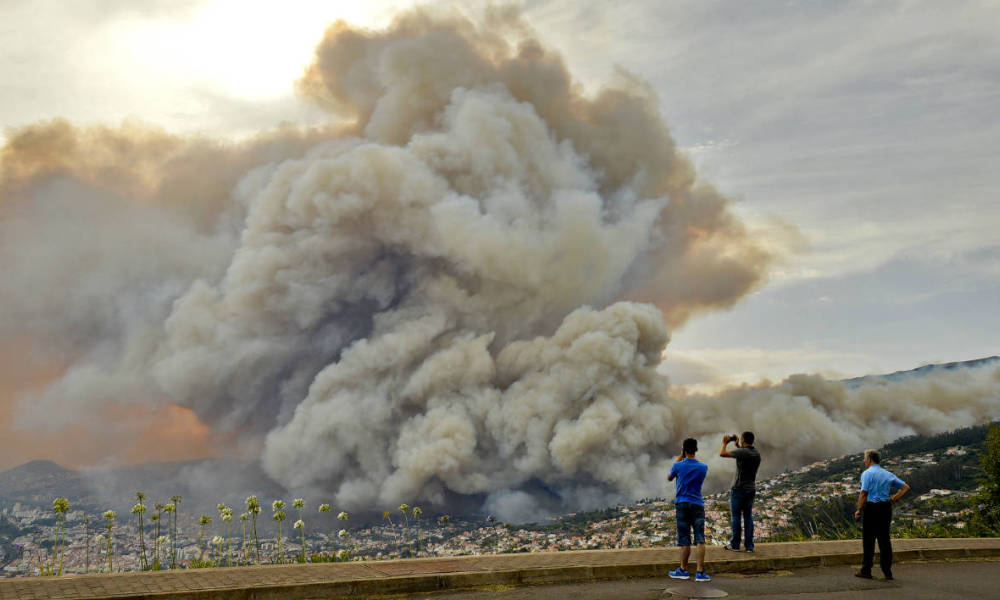 People take pictures of the smoke rising from a wildfire at Curral dos Romeiros, Funchal in Madeira island on August 9, 2016. Several houses were destroyed by multiple blazes in the region of Funchal and some 250 people were evacuated to spend the safe night in military installations, said the head of the Civil Protection government regional, Rubina Leal. JOANA SOUSA / AFP