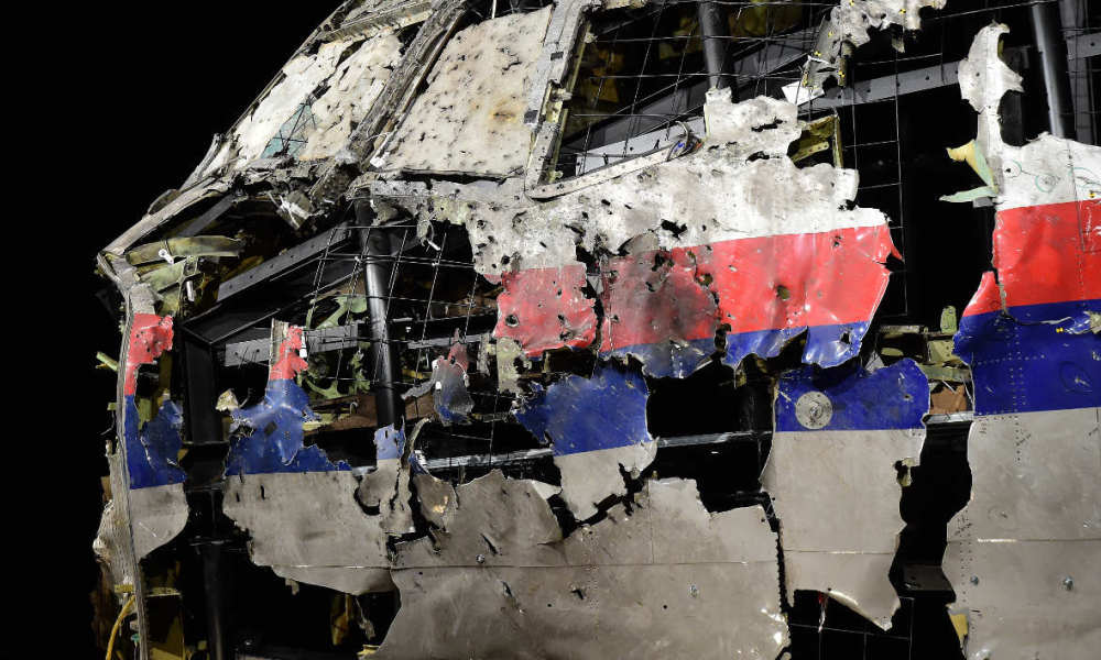 The wrecked cockipt of the Malaysia Airlines flight MH17 is exhibited during a presentation of the final report on the cause of the its crash at the Gilze Rijen airbase October 13, 2015. Air crash investigators have concluded that Malaysia Airlines flight MH17 was shot down by a missile fired from rebel-held eastern Ukraine, sources close to the inquiry said today, triggering a swift Russian denial. The findings are likely to exacerbate the tensions between Russia and the West, as ties have strained over the Ukraine conflict and Moscow's entry into the Syrian war.