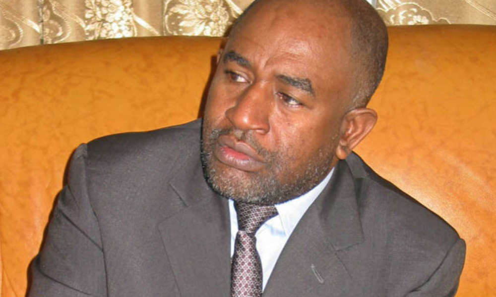 FILES- This file photo taken 16 August 2005 shows Comoros President, Azali Assoumani gesturing during an interview with AFP at the Office of the President, Moroni. An IMF delegation is in the Indian Ocean archipelago to assist in reshaping its fiscal services. Assoumani's government has been grappling with inefficient systems in the public service sector that has given rise to wastage of tax-payers' funds and a stagnation of the sector's development. AFP PHOTO /