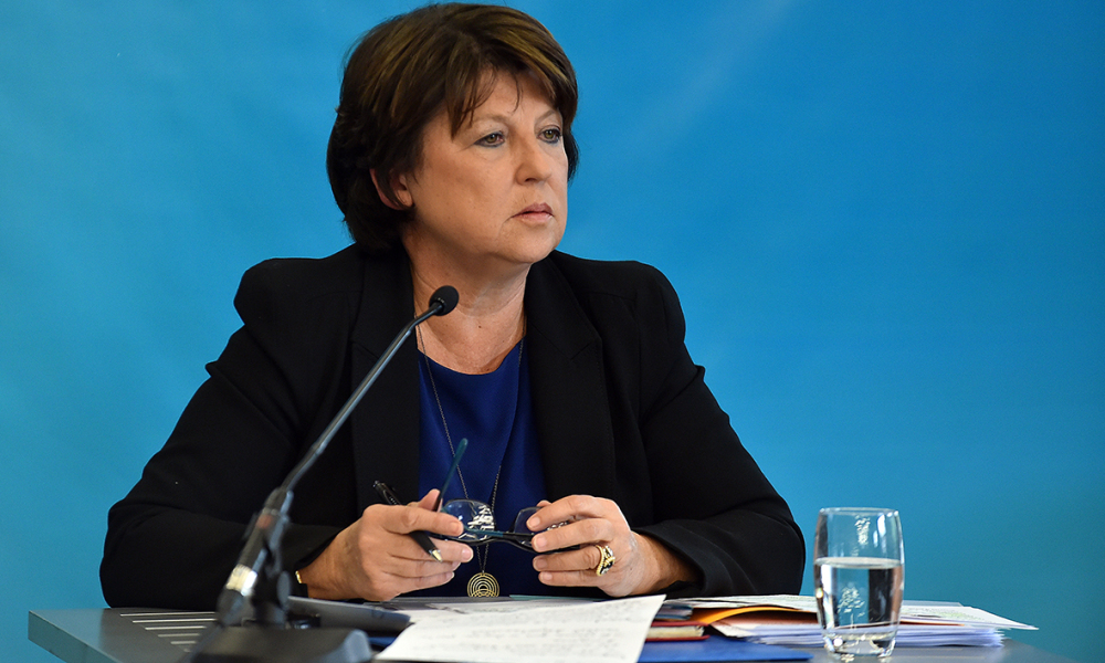 Lille's mayor and former Socialist party (PS) first secretary Martine Aubry gives a press conference on September 23, 2015 in Lille, northern France. Aubry talked about the unease, the anger of part of the left-wing party towards governmental policies and said 'she was fed up' with French Economy Minister Emmanuel Macron's statements.