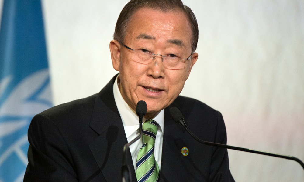 "United Nations Secretary-General Ban Ki-moon delivers a speech during the UN climate conference in Marrakesh on November 15, 2016. UN chief Ban Ki-moon called for the ""elimination of fossil fuel subsidies"" to accelerate the transition to clean energy for the sake of the planet."