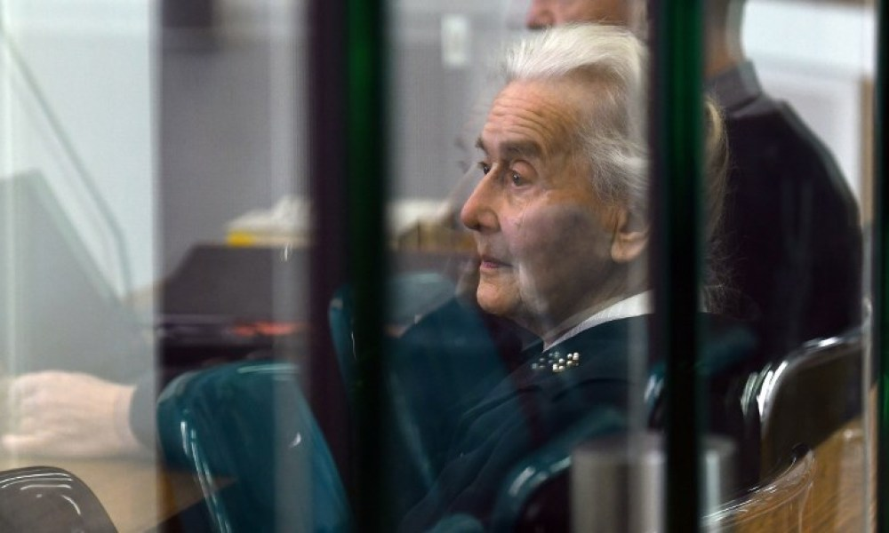 (FILES) In this file photo taken on October 16, 2017 Defendant Ursula Haverbeck waits for the opening of her trial at court in Berlin. German police are hunting an 89-year-old grandmother convicted on several occasions for Holocaust denial, after she failed to turn herself in to serve her prison sentence.