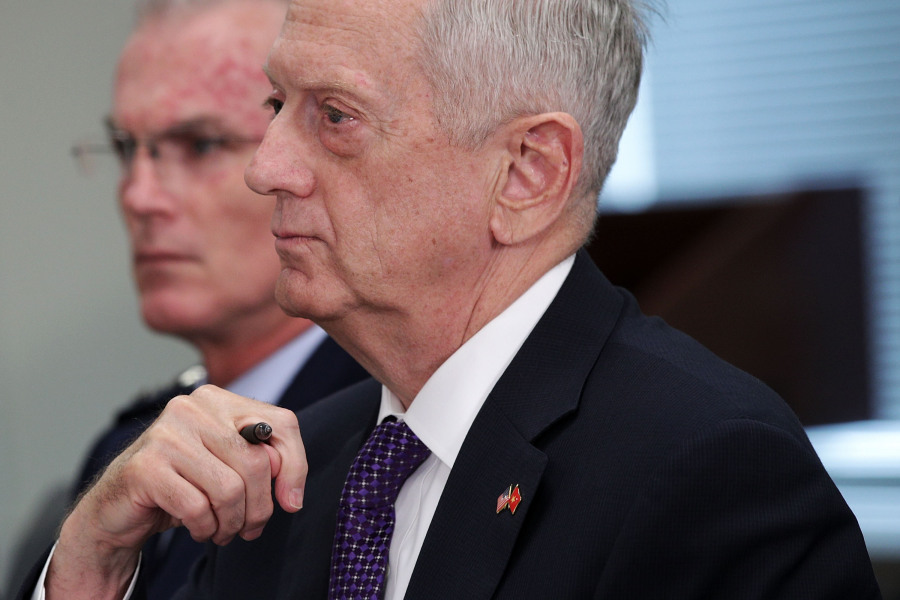 ARLINGTON, VA - AUGUST 08: U.S. Secretary of Defense Jim Mattis (R) and Vice Chairman of the Joint Chiefs of Staff General Paul Selva (L) participate in a bilateral meeting withVietnamese Minister of National defense General Ngo Xuan Lich at the Pentagon August 8, 2017 in Arlington, Virginia.
