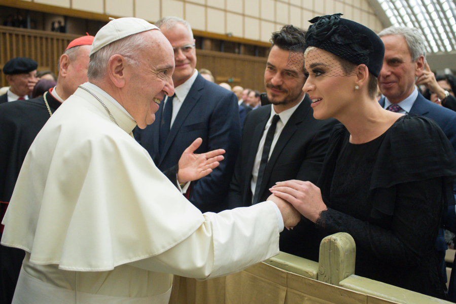 Le Pape François, Orlando Bloom et Katy Perry