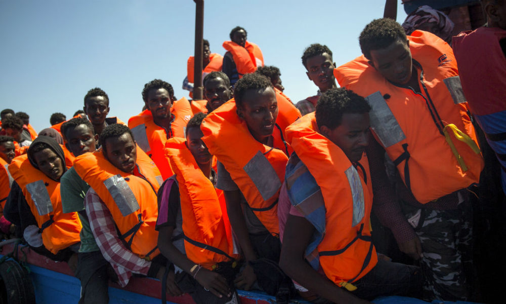 Migrants secourus par l'Aquarius au large des côtes libyennes le 2 août 2017