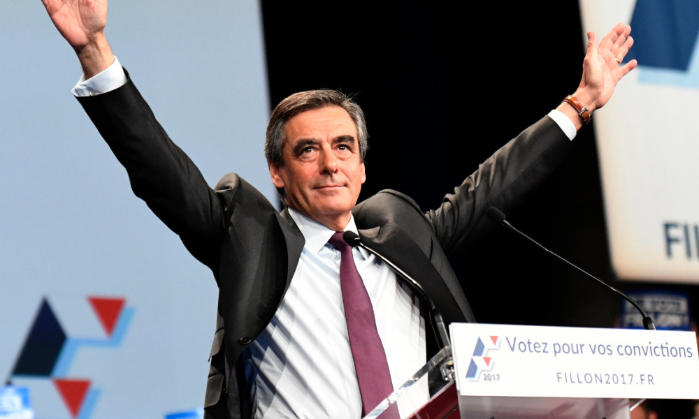 François Fillon lors d'un meeting à Paris, le 18 novembre 2016.