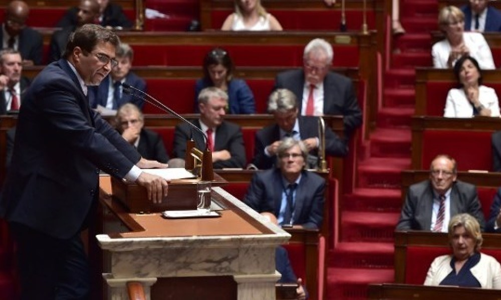 Les Republicains (LR) party's group president at the French national assembly, Christian Jacob (L) delivers a speech following the French Prime Minister's address of his general policy speech before the National Assembly on July 4, 2017 in Paris.  CHRISTOPHE ARCHAMBAULT / AFP