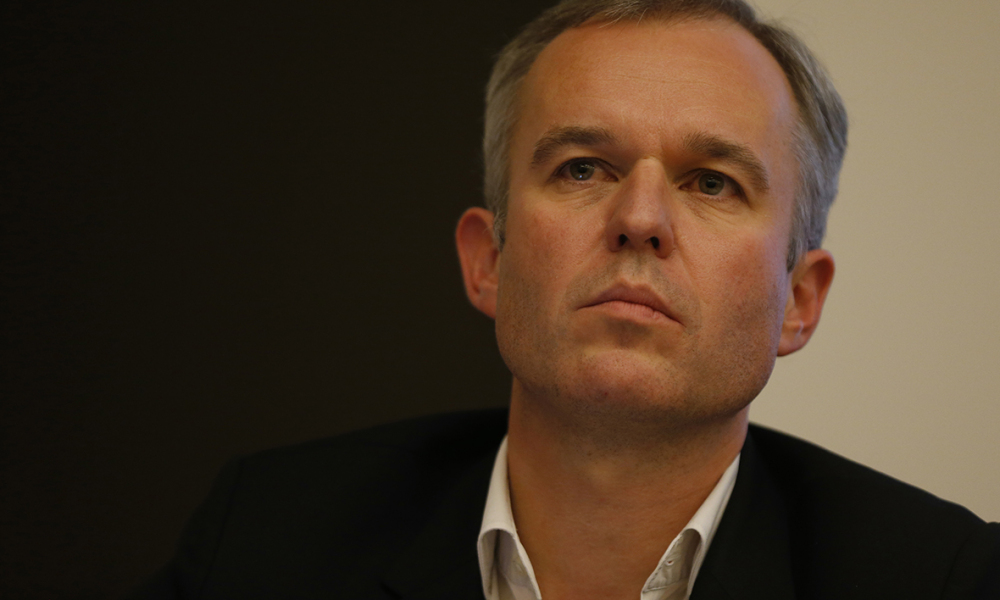 """French MP Francois de Rugy takes part in the first meeting of the new ecologist party """" Ecologistes!"""", on October 3, 2015 in Paris"""