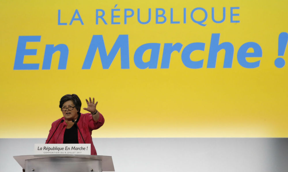 La Republique en Marche (REM) acting chairperson Catherine Barbaroux gestures as she addresses a meeting of the political party in Paris on July 8, 2017.  FRANCOIS GUILLOT / AFP