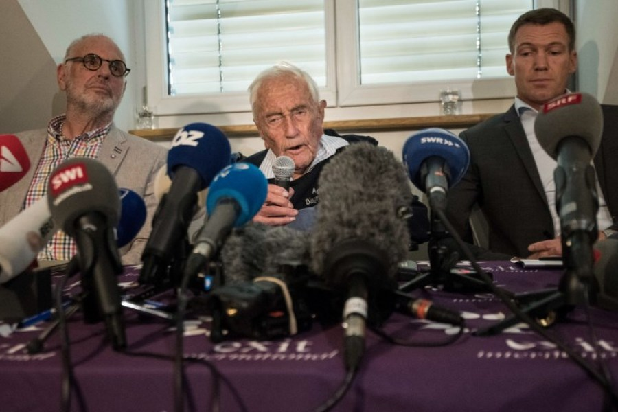 Australian scientist David Goodall attends a press conference flanked by Exit International founder and director Dr. Philiip Nitschke (L) and Dr. Moritz Gall (R) on May 9 2018, on the eve of his assisted suicide in Basel. A 104-year-old Australian scientist David Goodall, resentful that he was forced overseas to die, gave a press conference along side Gall and Exit International founder and director Dr. Philiip Nitschke in Switzerland a day before he is due to end his life. Goodall does not have a terminal illness but says his quality of life has deteriorated and that he wants to die. Goodall, who according to Exit International attempted but failed to commit suicide on his own earlier this year, secured a fast-track appointment with assisted dying foundation Eternal Spirit in Basel.
