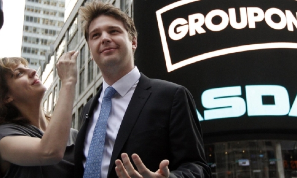 Andrew Masson au moment de l'introduction en Bourse de Groupon, en 2011.