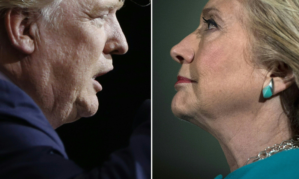 (COMBO) This combination of pictures created on November 07, 2016 shows Republican presidential candidate Donald Trump in Cleveland, Ohio on October 22, 2016 and US Democratic presidential nominee Hillary Clinton in Manchester, New Hampshire, on November 6, 2016. Clinton and Trump launched into the frenzied final day of their historic fight for the White House November 7, 2016, with blow-out rallies in the handful of swing states that will decide who leads the United States. Brendan Smialowski Jay LaPrete / AFP
