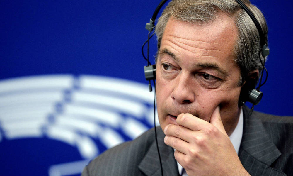 Former leader of the United Kingdom Independence Party (UKIP) Nigel Farage reacts as he speaks during a press conference at the European Parliament in Strasbourg, eastern France, on July 06, 2016.
