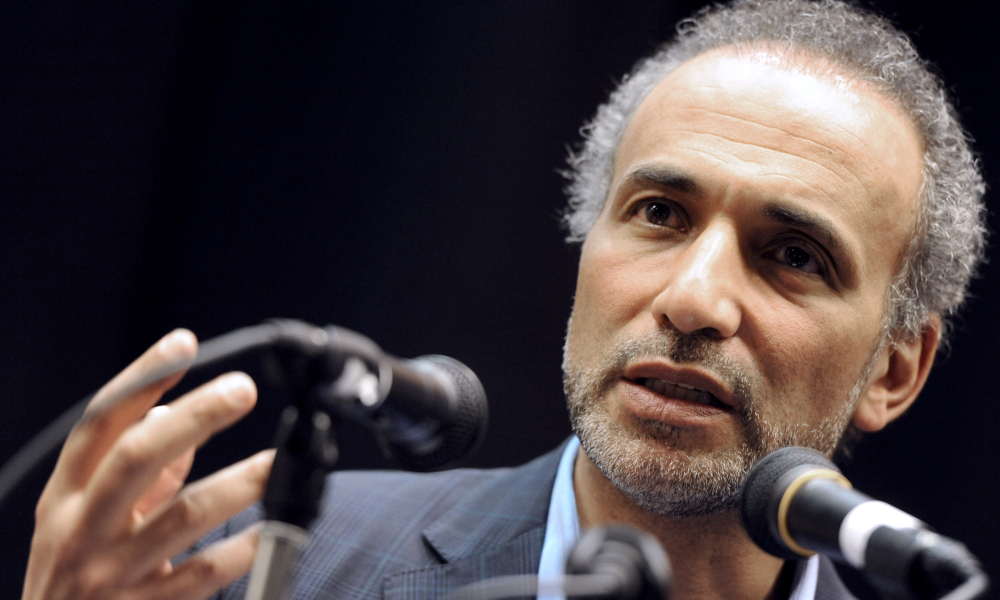 """Swiss Muslim intellectual and professor, Tariq Ramadan, speaks on March 4, 2012 during a conference focused on """"Muslims of France and the electoral speculation"""" in Nanterre, in the western suburbs of Paris."""