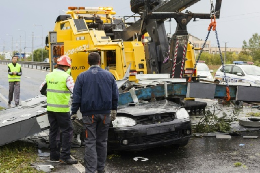 Accident mortel suite à une tempête à Timisoara, en Roumanie, le 17 septembre 2017