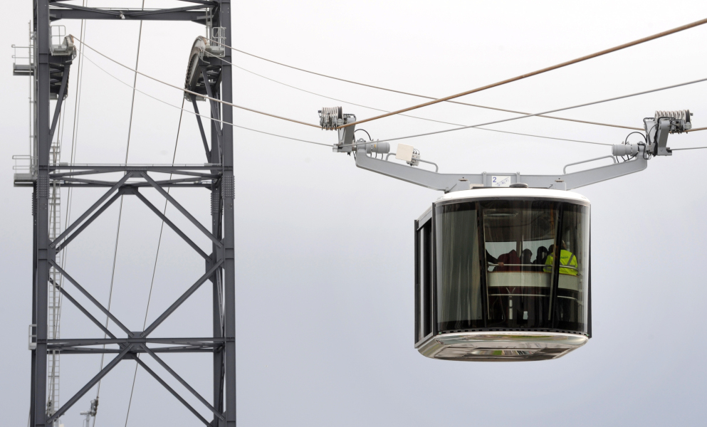 The France's first urban cable car is pictured during its inauguration in Brest, western Fance, on November 19, 2016  FRED TANNEAU / AFP