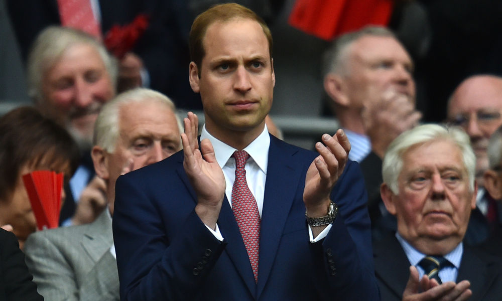 Le Prince William dans les tribunes de de Wembley à Londres.