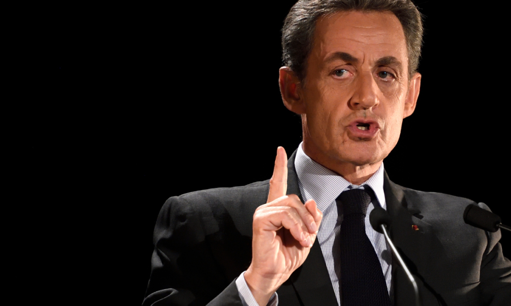 Nicolas Sarkozy, former French president and candidate for the right-wing Les Republicains (LR) party primaries ahead of the 2017 presidential election, addresses a public meeting in Neuilly-sur-Seine, northwest of Paris, on November 7, 2016.  Eric FEFERBERG / AFP