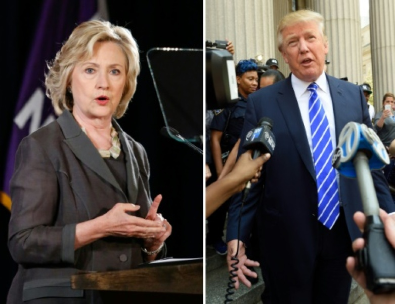 Montage photo avec Hillary Clinton, le 24 juillet 2015 à New York et Donald Trump, le 17 août 2015 à New York