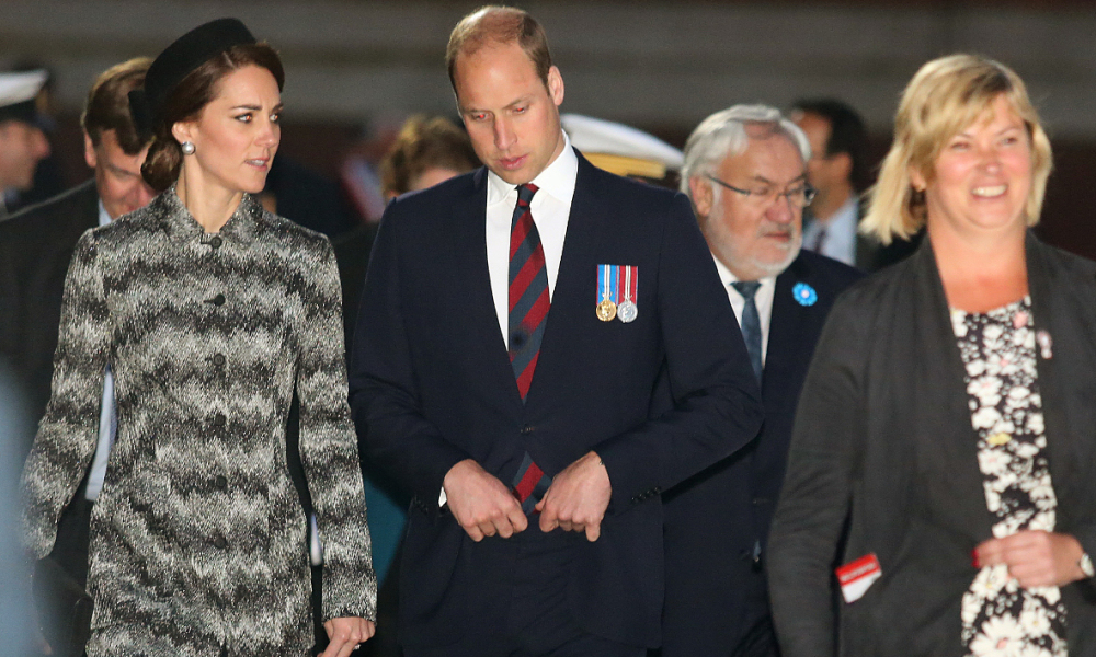 Britain's Prince William, Duke of Cambridge (C) and his wife Catherine, Duchess of Cambridge (L) attend the commemoration of the 100th anniversary of the Battle of the Somme, the deadliest battle in British history in which 20,000 men died on the first day of combat alone, on June 30, 2016 at the Thiepval Memorial, northern France.