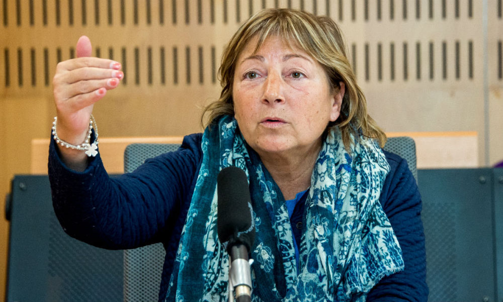 This file photo taken on March 22, 2017 shows French mayor of the northern city of Calais, Natacha Bouchart during a press conference in Calais following a court's decision to suspend the municipal decrees aimed at obstructing the food distributions to migrants.
