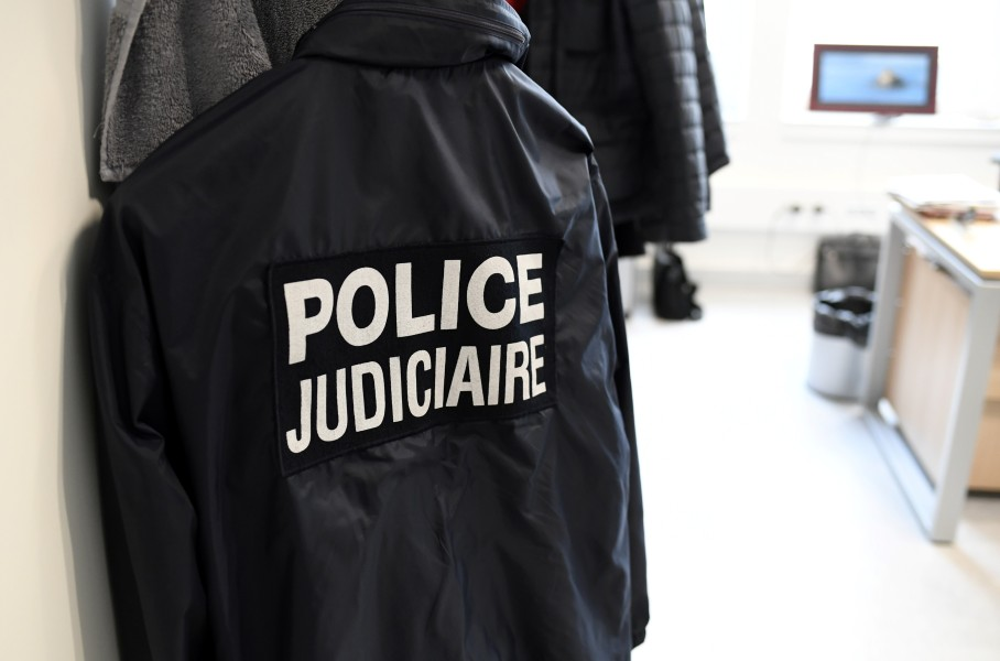 A picture taken on October 12, 2017 shows a jacket of the Judiciary police at the new Paris Judiciary Police headquarters in Paris. The new building of the Judiciary Police (PJ), aka 'Bastion', will be inaugurated on October 19, 2017 in Paris. STEPHANE DE SAKUTIN / AFP