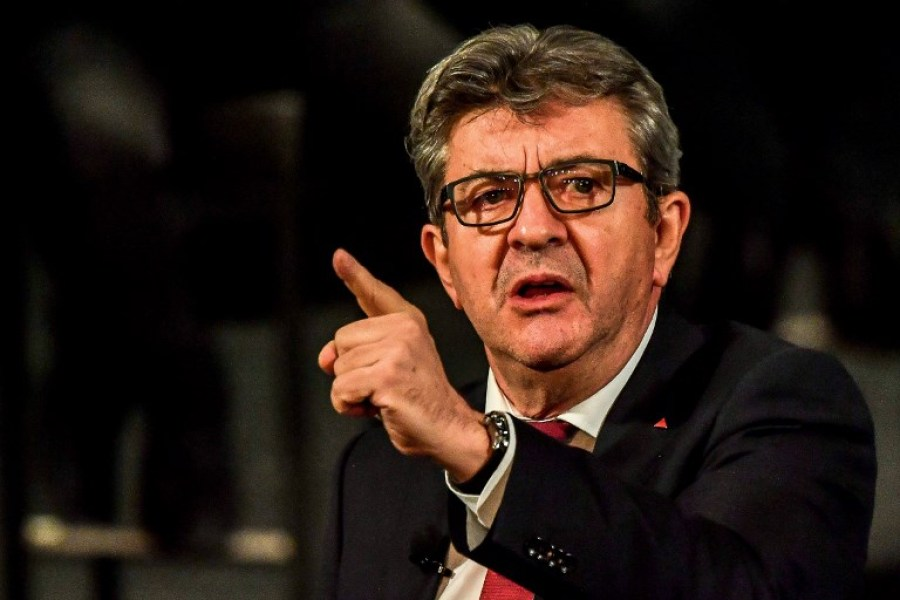 Leader of the far-left party France Insoumise (France Unbowed) Jean-Luc Melenchon gestures during a meeting of his party at the Sebastopol theatre in Lille on October 30, 2018.  PHILIPPE HUGUEN / AFP