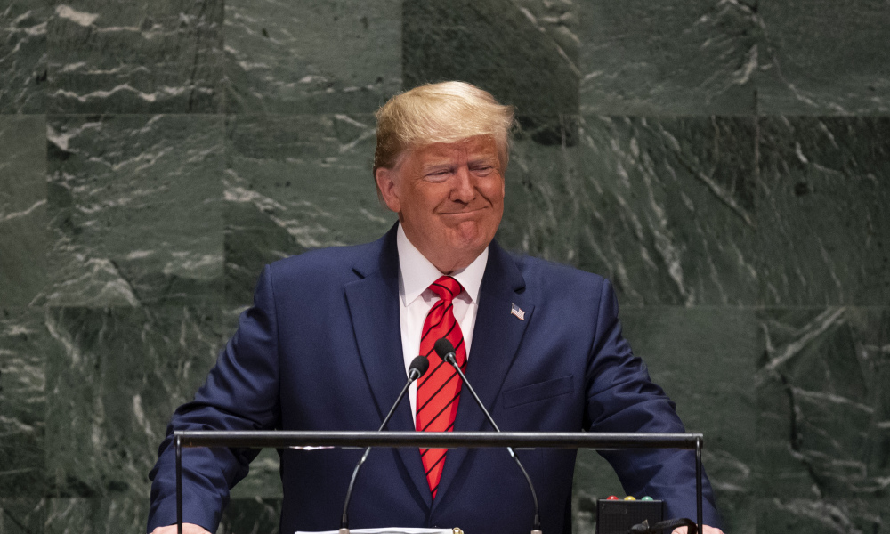 Donald Trump à la tribune de l'Assemblée générale des Nations unies, le 24 septembre 2019.