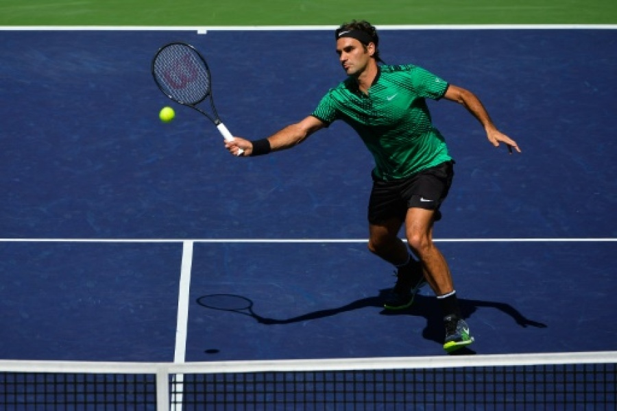 Roger Federer face à l'Américain Jack Sock à Indian Wells, en Californie, le 18 mars 2017