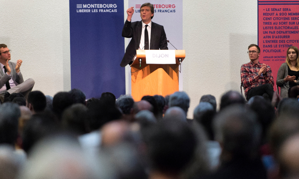 Former French Economy minister and candidate in the left-wing primaries ahead of the 2017 presidential election Arnaud Montebourg gestures as he gives a speech during a meeting in Dijon, eastern France, on December 7, 2016.  ROMAIN LAFABREGUE / AFP