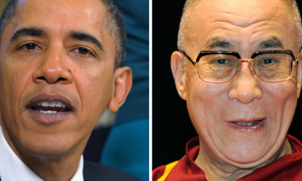Barack Obama et le dalaï lama, montage. (Photo d'illustration)