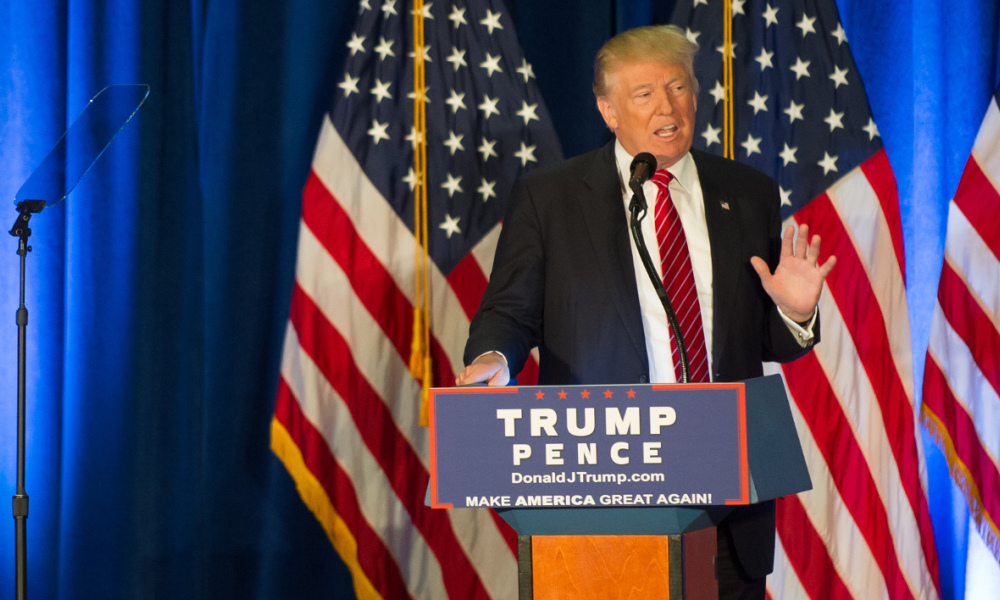 YOUNGSTOWN, OH - AUGUST 15: Republican candidate for President Donald Trump holds a campaign event at the Kilcawley Center at Youngstown State University on August 15, 2016 in Youngstown, Ohio. In his address, Trump laid out his foreign policy vision for America. Jeff Swensen/Getty Images/AFP  JEFF SWENSEN / GETTY IMAGES NORTH AMERICA / AFP