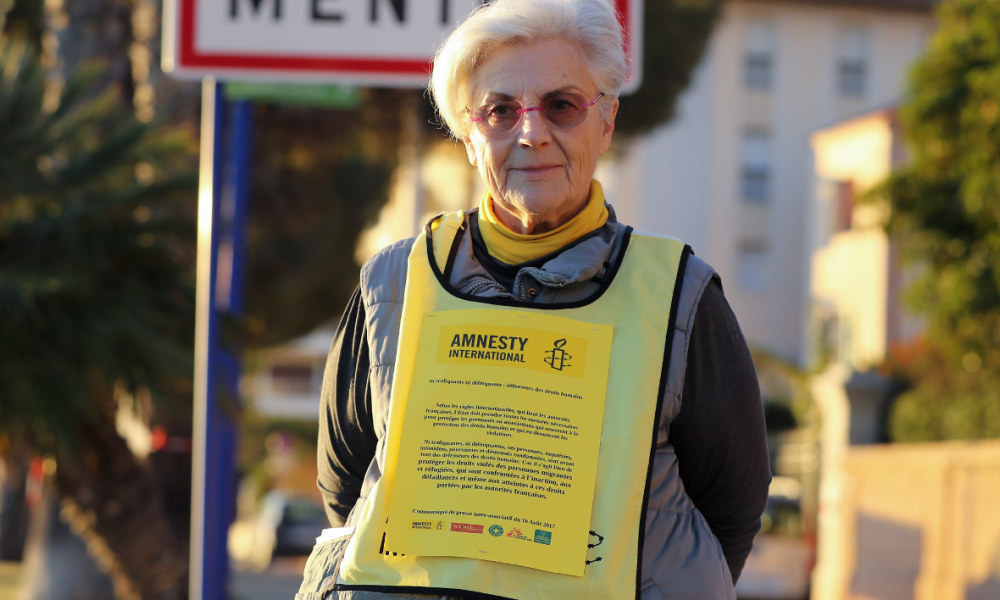 Martine Landry, responsable Amnesty International dans le sud de la France. - Valery Hache - AFP