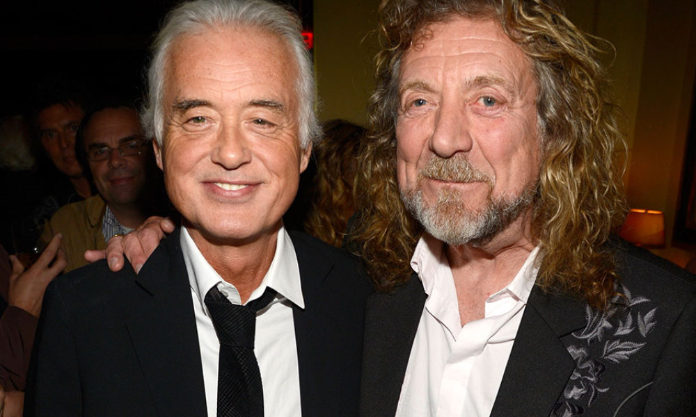 """Jimmy Page and Robert Plant attend the after party for """"Led Zeppelin: Celebration Day"""" at Monkey Bar on October 9, 2012 in New York City."""