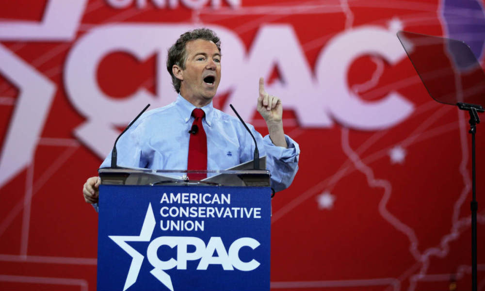NATIONAL HARBOR, MD - FEBRUARY 27: U.S. Sen. Rand Paul (R-KY) addresses the 42nd annual Conservative Political Action Conference (CPAC) February 27, 2015 in National Harbor, Maryland. Conservative activists attended the annual political conference to discuss their agenda. Alex Wong/Getty Images/AFP