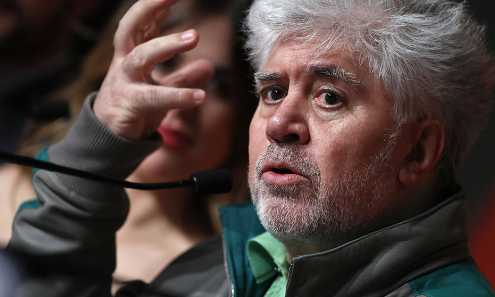 """Spanish director Pedro Almodovar talks on May 17, 2016 during a press conference for the film """"Julieta"""" at the 69th Cannes Film Festival in Cannes, southern France."""