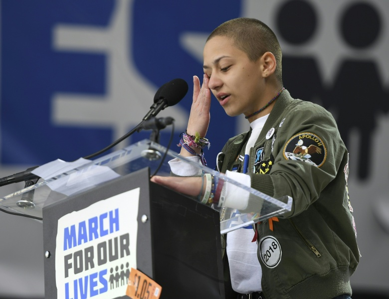 Marjory Stoneman Douglas High School student Emma Gonzalez reacts as she speaks during the March for Our Lives Rally in Washington, DC on March 24, 2018. Galvanized by the February 2018 gun massacre at a Florida high school, hundreds of thousands took to the streets in cities across the United States on Saturday in the biggest protest for gun control in a generation. JIM WATSON / AFP