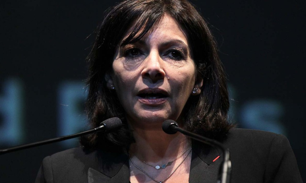 "Mayor of Paris Anne Hidalgo speaks during the presentation of the project ""Reinventer la Seine"" (""Reinvent the Seine"") in Rouen, northwestern France, on March 14, 2016. The project will be launched in Paris, Rouen and Le Havre. CHARLY TRIBALLEAU / AFP"