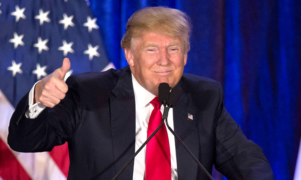 (FILES) This file photo taken on February 01, 2016 shows  Republican presidential candidate Donald Trump speaks after finishing second in the Iowa Caucus, in West Des Moines, Iowa, February 1, 2016. Donald Trump on February 3, 2016 accused rival Ted Cruz in the Republican race for the White House of stealing victory in the Iowa caucuses, demanding a re-vote or his win nullified. He made the sensational accusations on Twitter