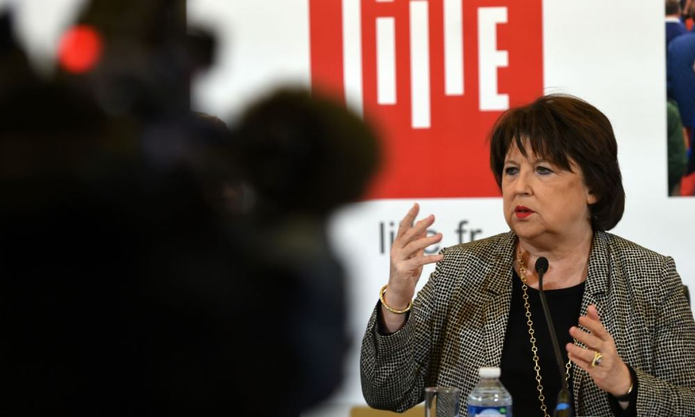 Lille's socialist (PS) mayor, Martine Aubry speaks during a press conference to provide an overview on current local events on March 3, 2017 in Lille, northern France.  FRANCOIS LO PRESTI / AFP
