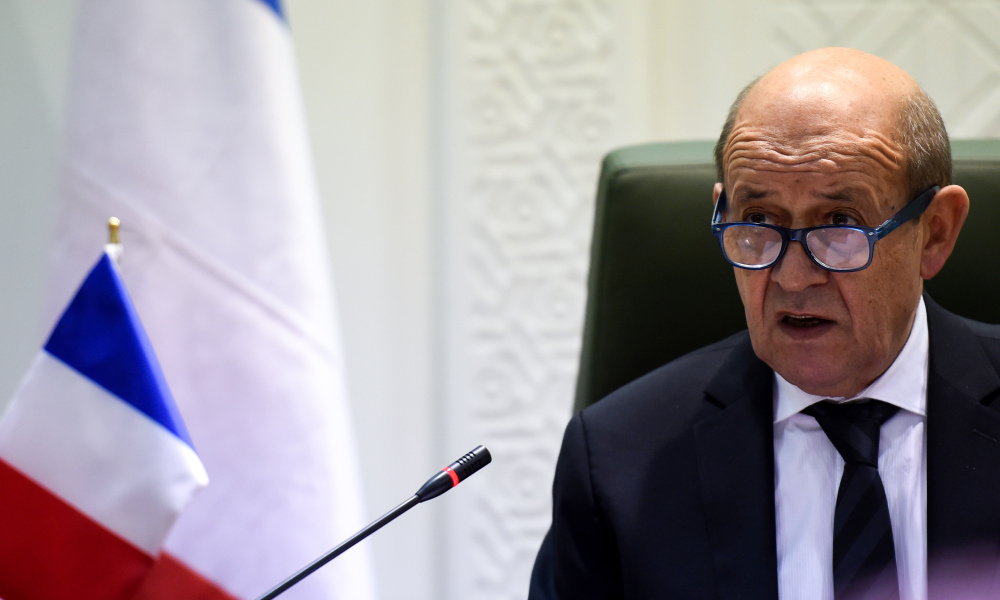 French Foreign Minister Jean-Yves Le Drian addresses a joint press conference with his Saudi counterpart in the Saudi capital Riyadh on November 16, 2017. Le Drian said during his visit to the desert kingdom that Lebanon's Prime Minister Saad Hariri, who resigned last week from Riyadh, would travel to France. Fayez Nureldine / AFP