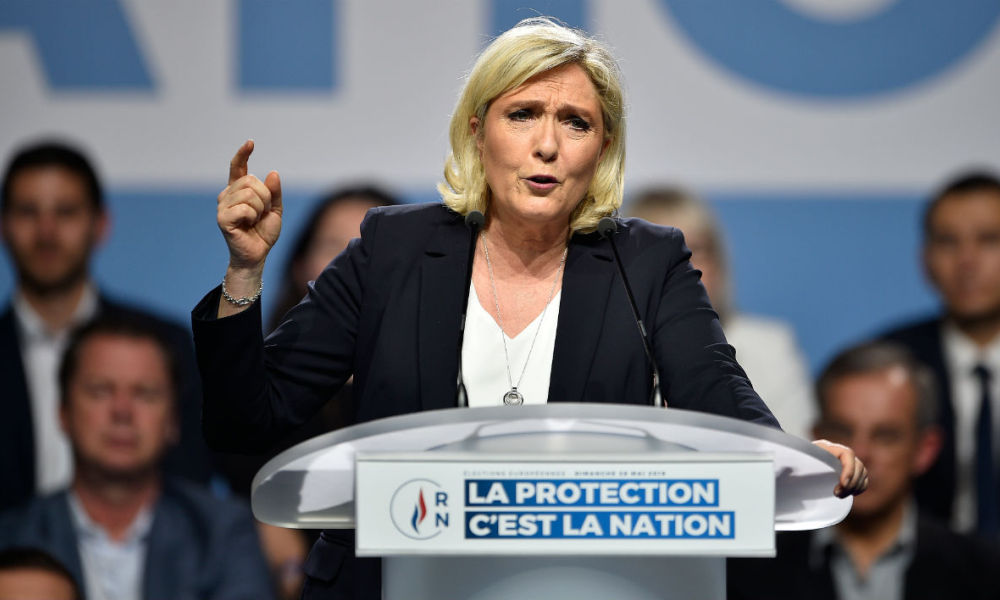 Marine Le Pen lors d'un meeting du Rassemblement national à Metz, le 1er mai 2019