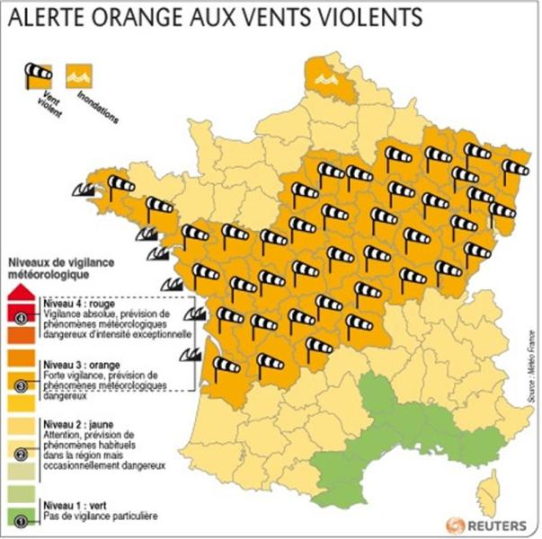 Alerte orange aux vents violents