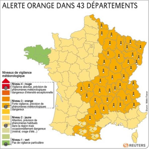 Alerte orange dans 43 départements