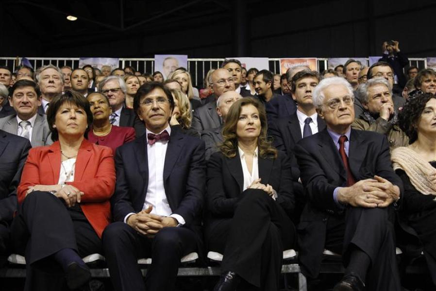 Socialists aubry, belgian pm di rupo, trierweiler and jospin attend a campaign rally in lille